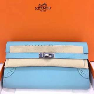 🐎全新 Hermes Kelly long 3P馬卡龍藍 蕾絲Ghillies ☝🏻️超美!
