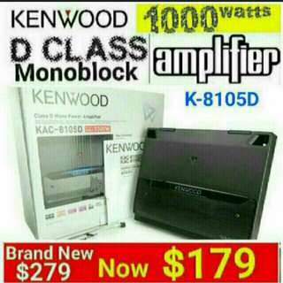 [Brand New] Monoblock Car Amplifier - KENWOOD CLASS D 1000Watts  MONOBLOCK AMPLIFIER with Sensing Turn On (2 ohms to 4 ohms) * Suitable for Subwoofer Only. (Model: KAC-8150D)  Usual Price: $279.l Offer:$ 179