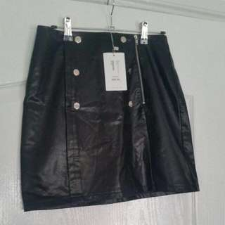 TEMT Black Leather Look NWT Size Small Silver High Waist BRAND NEW! RRP $29.95