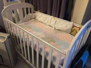 Baby Cot + mattress + cot bumper