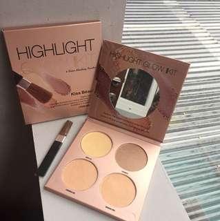 KB Glow Palette - Kiss Beauty Highlight Kit Shading Powder Shimmer