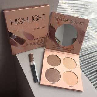 KB Glow Palette - Kiss Beauty Highlight Kit Shading Powder Shimmer
