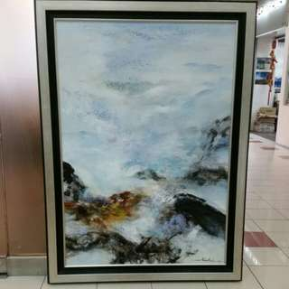 Huge Abstract Oil on Canvas Painting with frame L108xH145cm