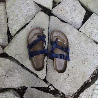 Birkenstock-inspired Blue Slippers