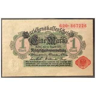 德國紙幣 1 mark aUNC