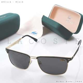 Sunglasses LACOSTE 162#p  Quality : Semprem Ready 3 colours : - Black Black - Coffee Black - Coffee Gold  Specifications : • Length : 14cm • width :15cm • Free box • Free Kain Weight : 0,2 kg/pcs   H 100rb