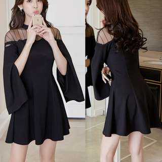 Hollow Out Patchwork Flare Sleeve Black Dresses