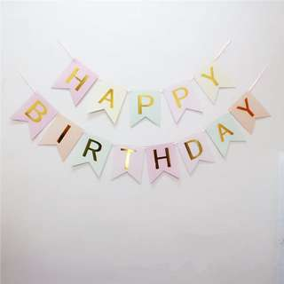 Pastel Happy Birthday Banner with Gold Foil