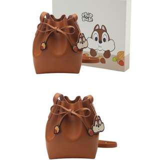 Grace Gift X Disney Chip And Dale Drawstring Sling Bag