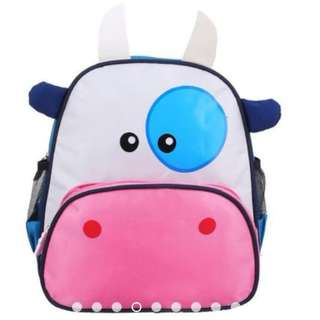 Kids Kindergarten School Animal Cow Character Backpack Bag