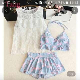 可愛少女3件套泳衣 3 piece swimming suit (brand new)