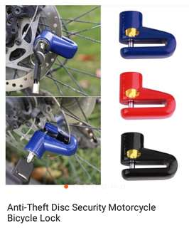 Anti thief disc security for motorcycle and bike