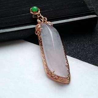 🎇18K Gold - Grade A Icy White Simple Classic Design Jadeite Jade Pendant🎇