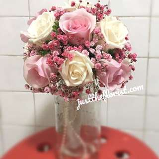 Pink white rose wedding bouquet
