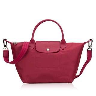 [全新正品] Longchamp 熱賣經典皇牌 Le Pliage Neo Néo nylon shopper SMALL #Raspberry 女裝 購物包 真皮 尼龍 手袋 女裝 禮物 送禮