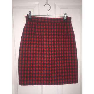 ❤️ Red & Black Plaid Pencil Skirt 🖤