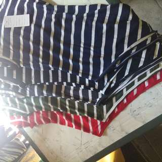 Korean Sexy Striped Sleeved and shorts terno