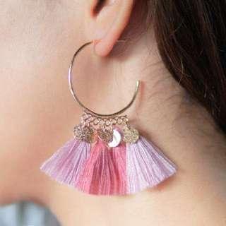 Half round tassel earring