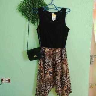 Leopard design lacey dress