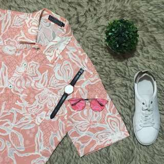 Nude Pink with  Floral Printed Button Down Polo