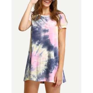 Multicolor Ink Print Short Sleeve Casual Shirt Dress