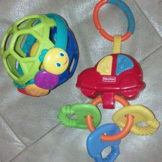 Fisher Price Musical Car Key Teether & Bright Starts Rattle Ball set