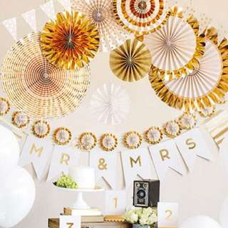 Gold Foil Party Paper Fans (8 pcs/set)