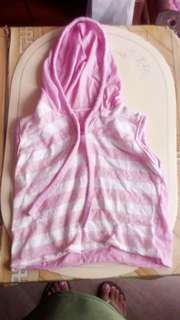 Pink Stripe Sando with hood
