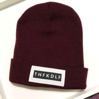 [只戴過一次] THFKDLF XIII Beanie 酒紅色 毛帽 男女皆可戴