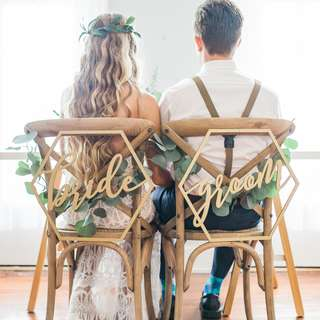 Hexagon Bride and Groom Calligraphy Wooden Hanging Wedding Chair Sign