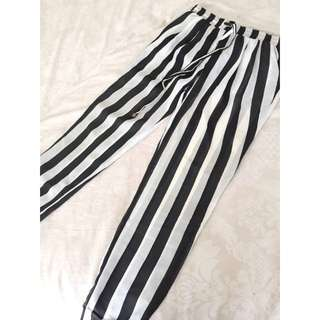 Miguel Reveriero Black And White Striped Pants