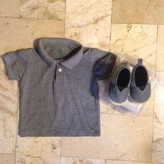 Gray Polo & Shoes Set
