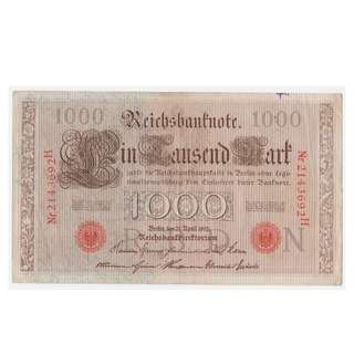 1910 Imperial German Thousand Reichsmark Banknote (Red Ink)