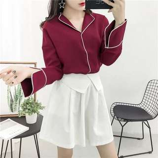 Brand new wine maroon burgundy red long sleeve chiffon white outline blouse