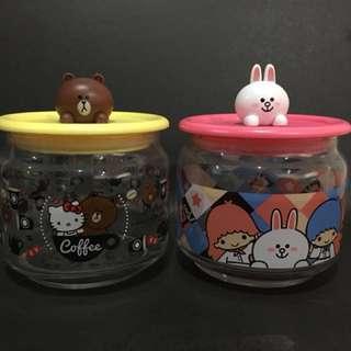 7-11 line 玻璃瓶 樽樽滿joy玻璃樽 Hello Kitty Brown 熊大 Little Twin Star Cony
