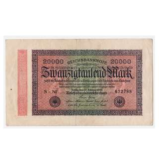 1923 German Hyperinflation Two Hundred Thousand Mark Banknote