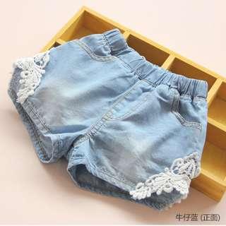kids fashion girl denim shorts