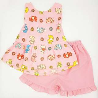 Pink Elephant prints big bow tie back 2pcs set