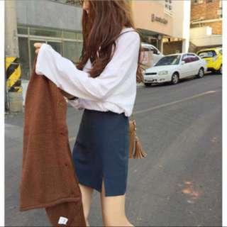 寶藍色西裝布A字裙