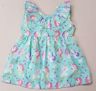 🦄 unicorn v-back ribbon dress