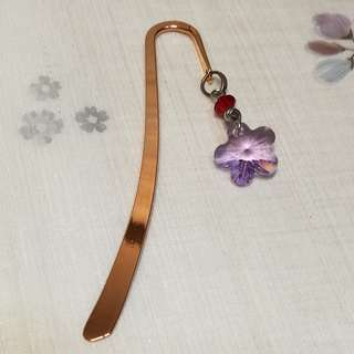 Flower Swarovski Crystal Bookmark Copper Version