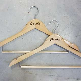 Engraved Groom Bride Wedding Wooden Hanger