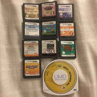 Nintendo DS and PSP Game Cards Games