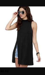 H&M black sleeveless top with slit