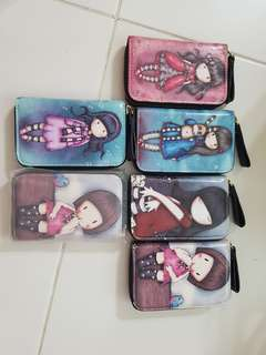 Genuine leather wallet coin pouch with printed dolls designs