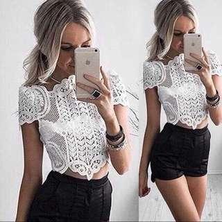 PO White Lace Crop Top