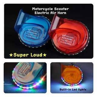 Motorcycle / E Scooter Electric Air Horn With Built-in Led Lights  ★Blue Color  ★Demo Video Avail On Description  ★Guaranteed Super Loud  ★Slim And Compact   ★Fits All Motorcycle DC 12v  ★Plug & Play  ★No Relay Needed   ★100% Satisfaction   In Stock