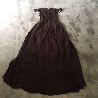 Brown Gothic Maxi Dress