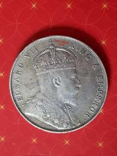 1908 Straits Settlement Silver Dollar Coin