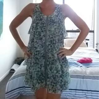 BNWT Designer 2 Percent - Green Ruffle Dress Size 10